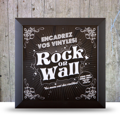 cadre noir pour disque vinyle rock on wall. Black Bedroom Furniture Sets. Home Design Ideas