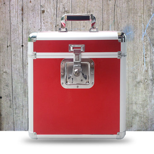 flight case rouge disque vinyle